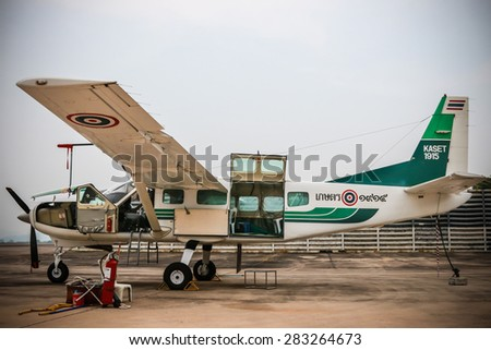RAYONG , THAILAND- MAR 26 2015: Cessna 208 Caravan no.1918 of KASET , Bureau of Royal Rainmaking and Agricultural Aviation. U-TAPAO Airport, Rayong - stock photo