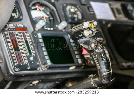 RAYONG , THAILAND- MAR 26, 2015: Inside Sikorsky UH-60 Black Hawk helicopter of royal thai navy standby in the hangar for maintenance. U-TAPAO Airport, Rayong - stock photo