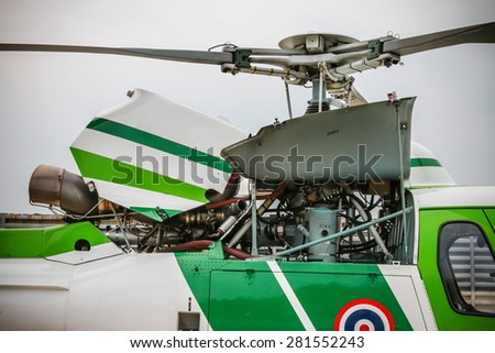 RAYONG , THAILAND- MAR 26 2015: Machine and rotor of Helicopter AS350 no.18301 of KASET , Bureau of Royal Rainmaking and Agricultural Aviation. U-TAPAO Airport, Rayong - stock photo