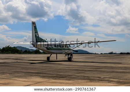 RAYONG , THAILAND- MAY 16 2015: Cessna 208 Caravan no.1918 of KASET , Bureau of Royal Rainmaking and Agricultural Aviation. U-TAPAO Airport, Rayong - stock photo