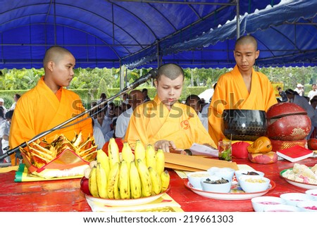 RAYONG, THAILAND - SEPTEMBER 23:Unidentified monk of taoism cult ceremony preparation at Rayong Vegetarian Festival on September 23, 2014 in Rayong, Thailand. - stock photo