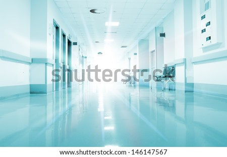 Rays of light in the corridor of the hospital. - stock photo