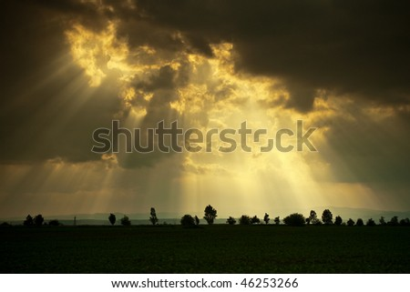 rays of sun from the heaven - stock photo