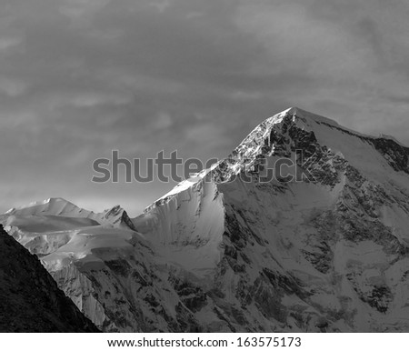 Rays of sunset on the tops of the mountains - Gokyo region, Nepal (black and white) - stock photo
