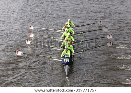 RC BOSTON - OCTOBER 18, 2015: Resilient races in the Head of Charles Regatta Women's Youth Eights [PUBLIC RACE] - stock photo