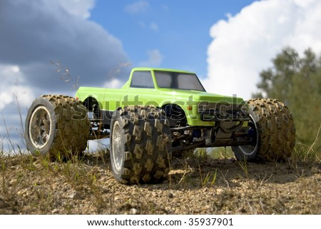 RC Car  Monster Truck green - stock photo