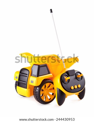 rc toy, yellow truck on a white background - stock photo