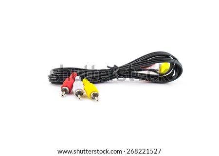 RCA cable on white background. - stock photo
