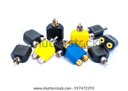 RCA Connecter Audio of video an adapter isolated on a white background - stock photo