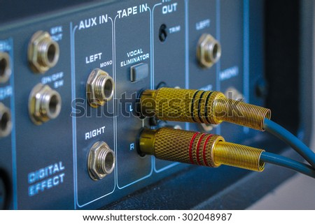 RCA jacks to connect to the Audio control mixer amplifier. - stock photo
