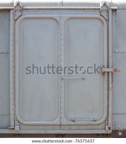 Re-color vintage railroad container doors without rusty and old color. - stock photo