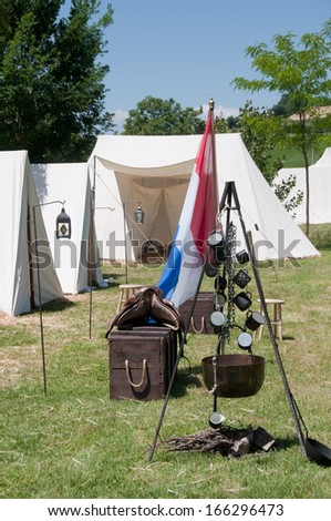 Re-enactment of the battle of Vitoria between British, Portuguese and Spanish army under General Wellington and the French army in 1813 on JUNE 22, 2013 in Vitoria, Spain.  - stock photo