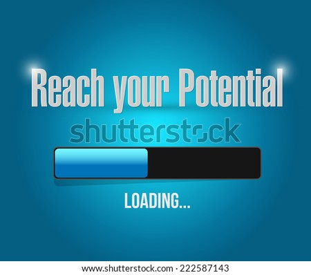 reach your potential illustration design over a blue background - stock photo