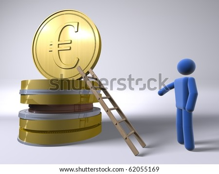 Reaching for the Euro � - stock photo