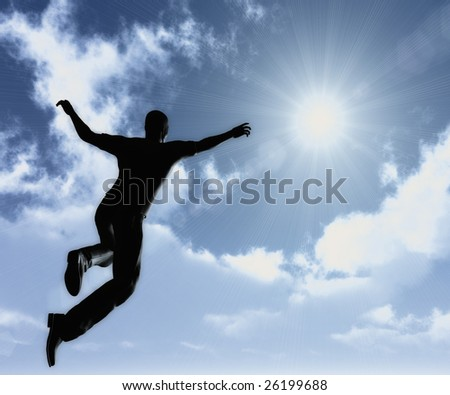 Reaching the sky of success concept illustration - stock photo