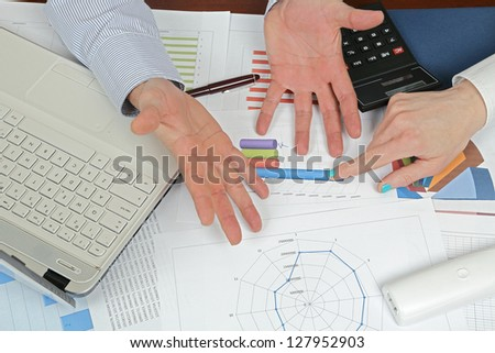 reaction of man at unexpected results - stock photo