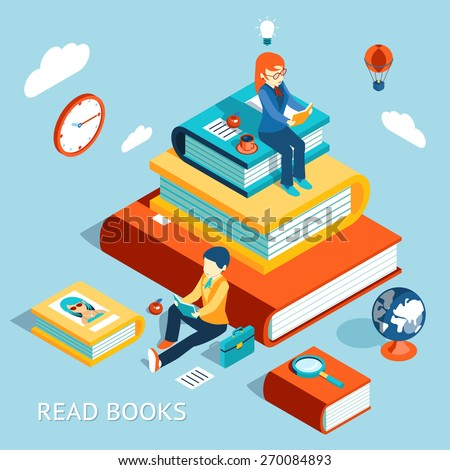 Read books concept. Education and school, study and literature - stock photo