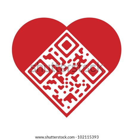 Readable red artistic QR Code in shape of heart. Raster version. - stock photo