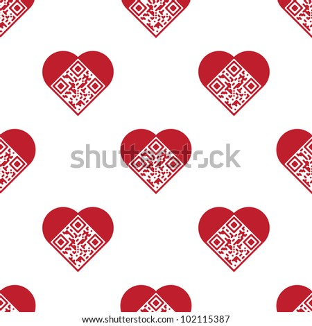 "Readable red artistic QR Code seamless pattern. Elements are in shape of heart with ""I Love You!"" text encoded. Raster version. - stock photo"