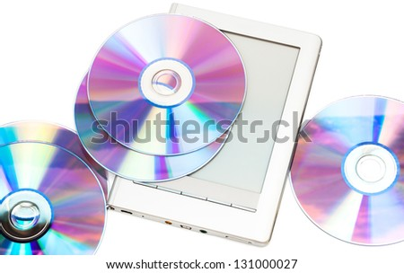 reader and cd disks on a white background - stock photo