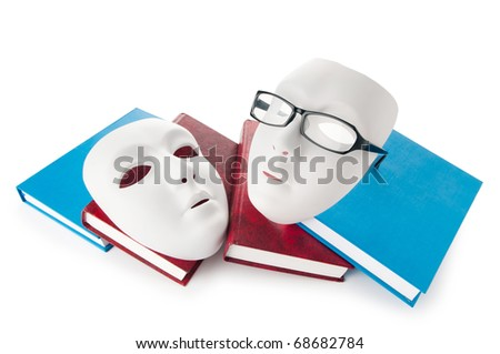 Reading concept with masks, books and  glasses - stock photo