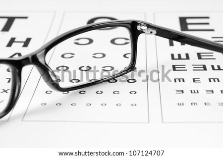 Reading eyeglasses and eye chart - stock photo