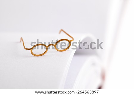 Reading glasses on a open blank book with white pages and space for text - stock photo