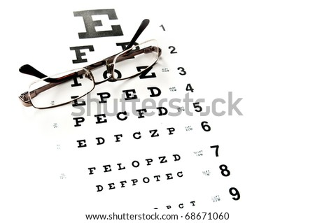 Reading glasses with eye chart isolated on white - stock photo