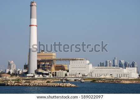 Reading Power Station supplying electrical power to the Tel Aviv District in central Israel - stock photo