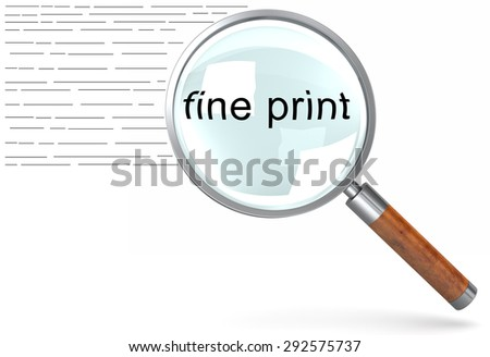 Reading the small print on a document with a magnifying glass - stock photo