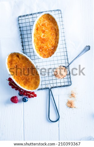 Ready for Taste Tasty Creme Brulee Desert on White Background. Small Fuits on Side. - stock photo