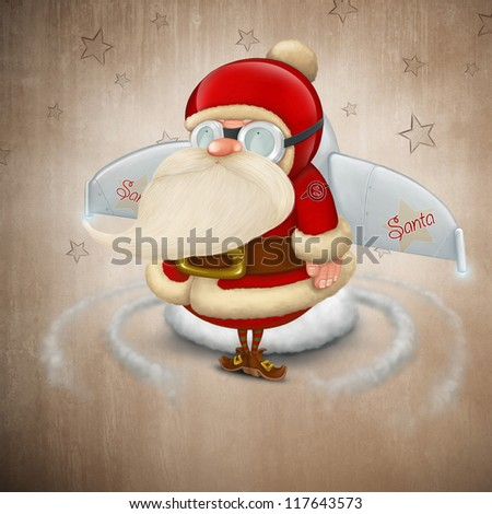 Ready Santa Claus to takes off with its rocket - stock photo