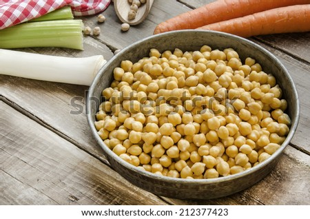 Ready to cook chickpeas with vegetables  - stock photo