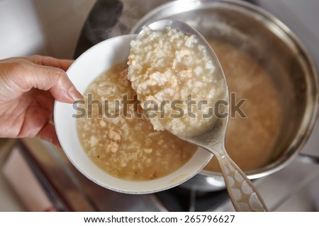 Ready to serve chicken porridge - stock photo