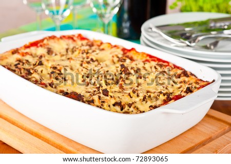 Ready to serve dish with lasagne. - stock photo