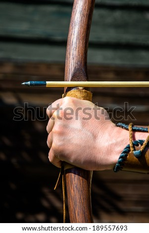 Ready to shoot and hit the target - stock photo