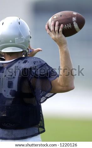 Ready To Throw Football - stock photo