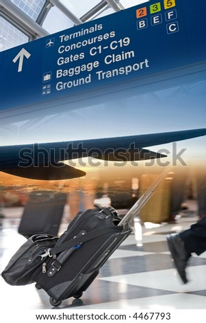 Ready-to-use Travel and Airport themed montage of images - stock photo