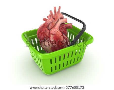Reaistic human heart in a basket isolated on white. 3d rendered. - stock photo