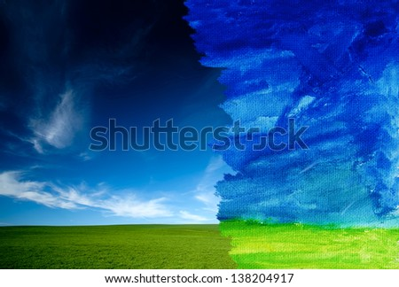 Real and watercolor concept - stock photo