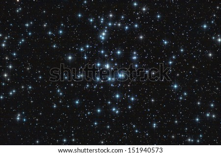 Real astronomic picture taken using telescope, it is an open stars cluster known as praesepe, in cancer constellation - stock photo