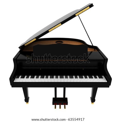Real black grand piano isolated on white - stock photo