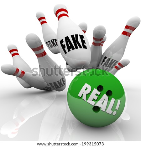 Real bowling ball striking pins marked Fake to illustrate an original product or idea  - stock photo
