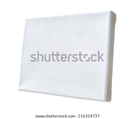 real canvas coated by white primer stretched on wooden frame - stock photo