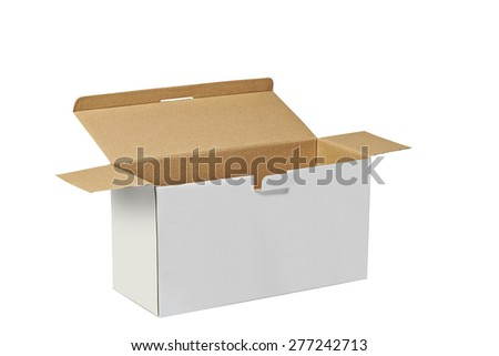 Real Cardboard box opened ready for packaging and delivering isolated on white with clipping path - stock photo