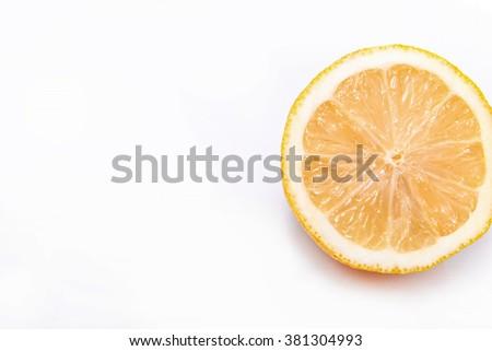 Real Cut lemon on a white background - no Photoshop - stock photo
