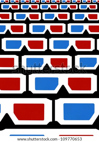 "Real 3d glasses original photo artwork titled ""3D Glasses Audience"" on black background - stock photo"