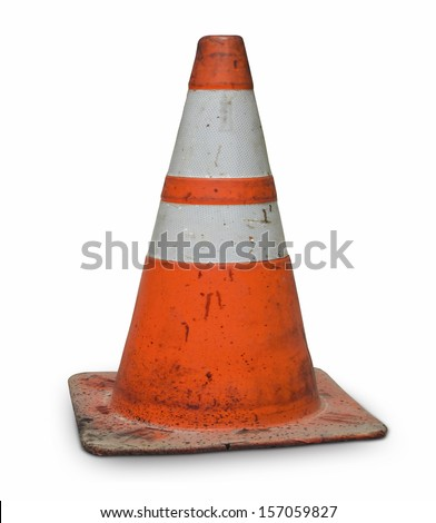 real dirty traffic cone - stock photo