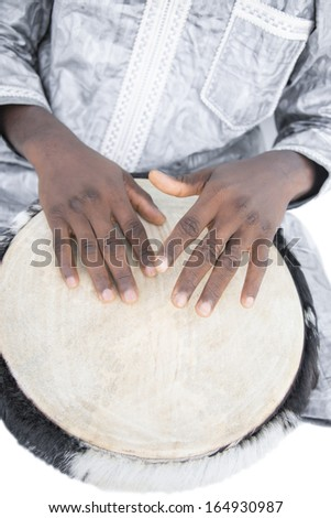Real djembe player, traditional garment, Senegal, Africa - stock photo