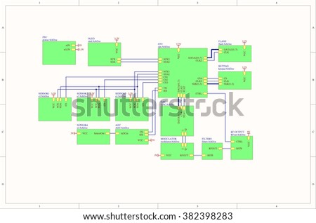 Real electronic embedded system concept block diagram - stock photo
